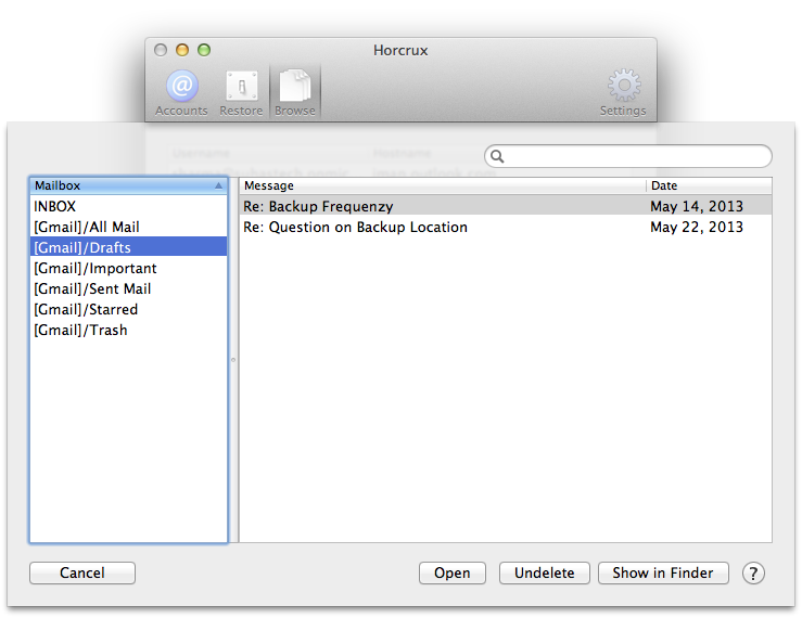 Browse IMAP Email Backups on Mac OS X
